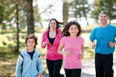 Family running outside